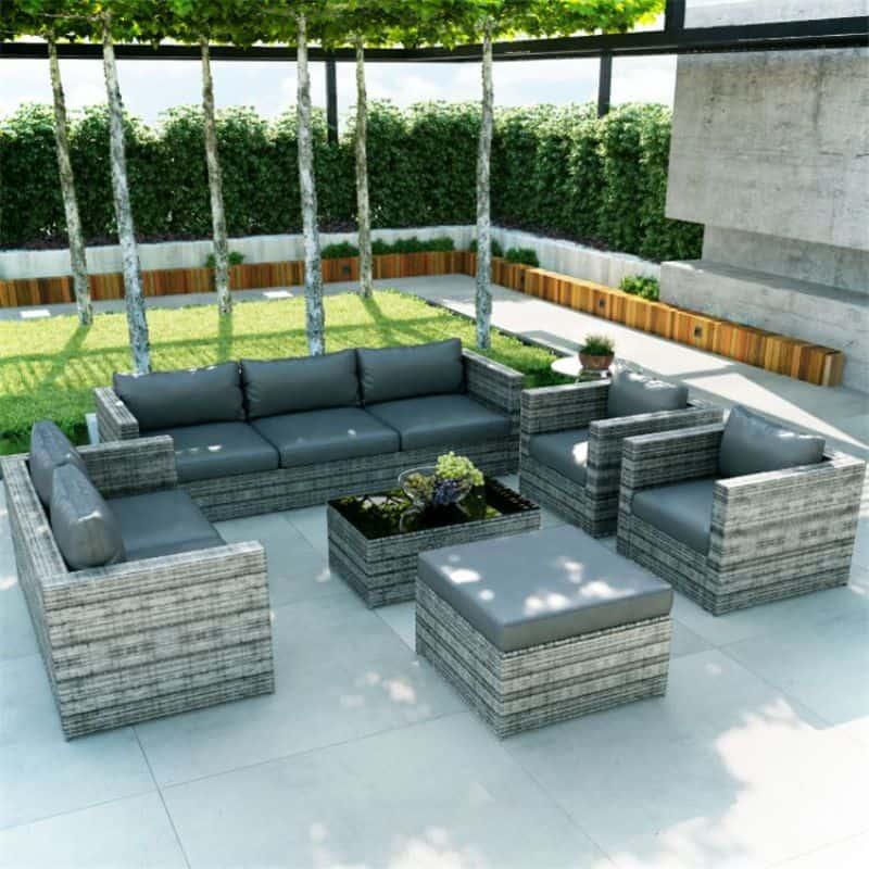 BillyOh Seville 8 Seater Outdoor Rattan Sofa Set Mixed Grey
