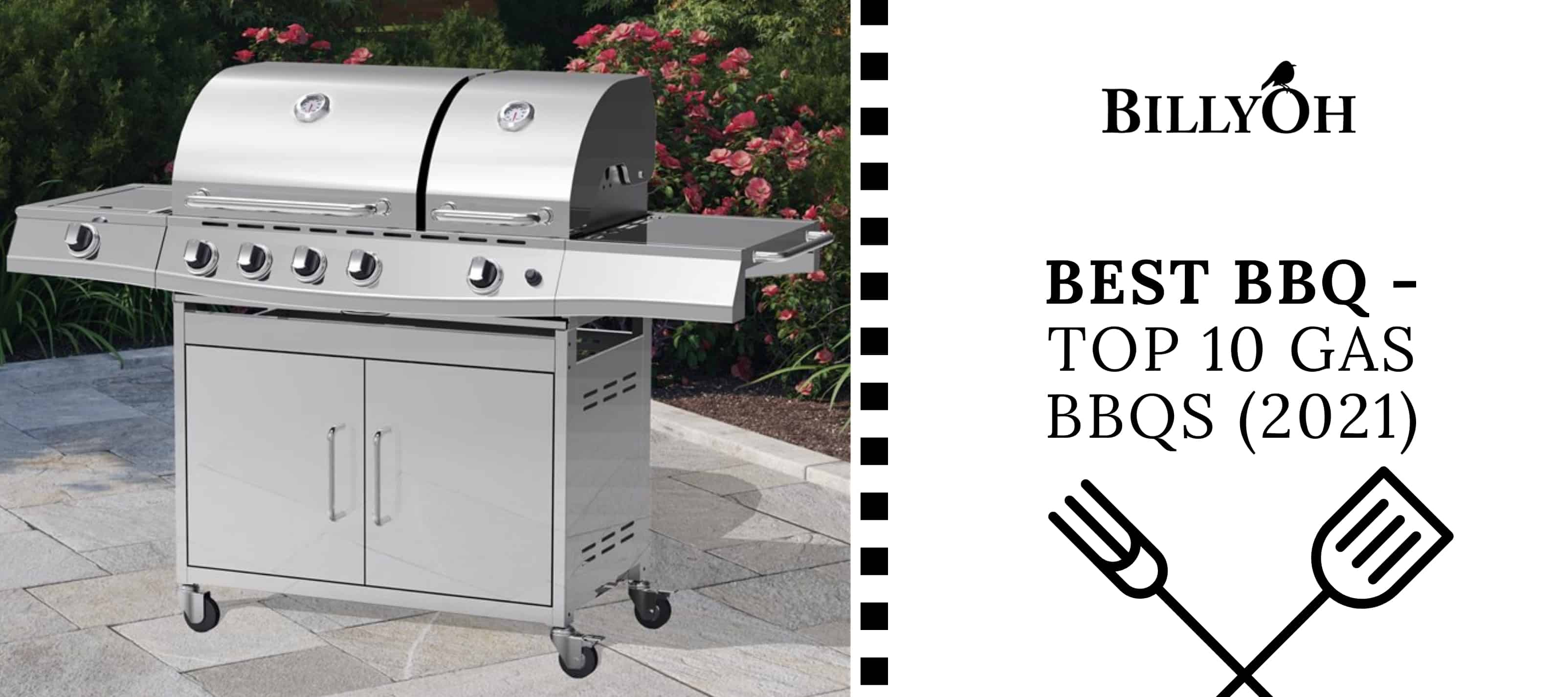 BillyOh Dallas Silver 5 Burner Gas BBQ on patio with 'Best Gas BBQs' banner with BillyOh Logo