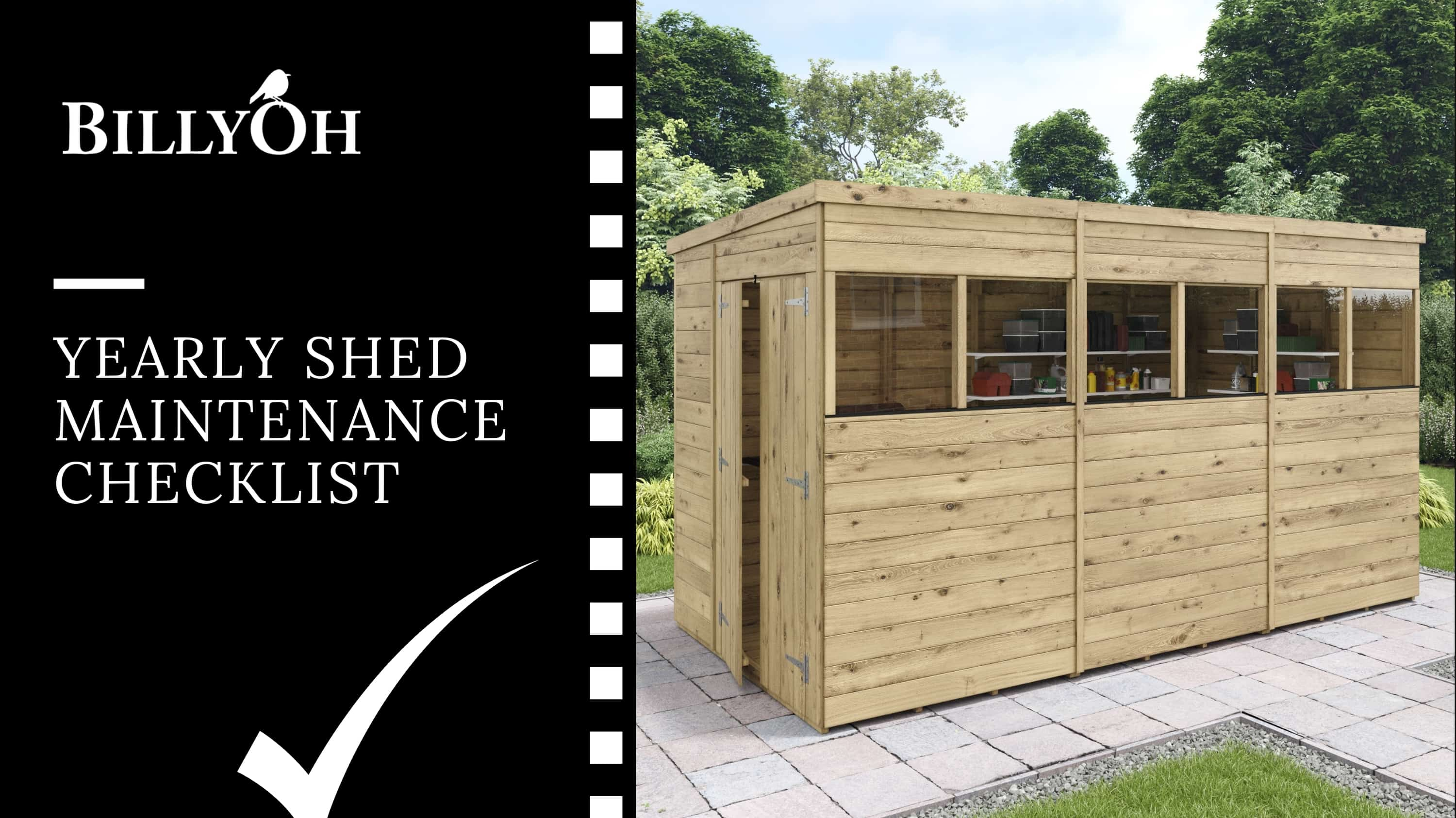 yearly shed maintenance checklist BillyOh banner with pent roof wooden shed