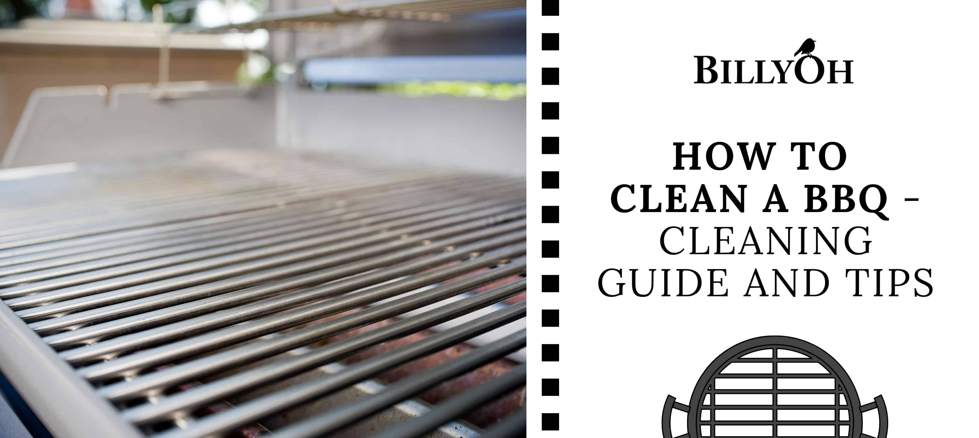 'How to Clean a BBQ' banner on white cartoon film reel with a clean BBQ grill rack