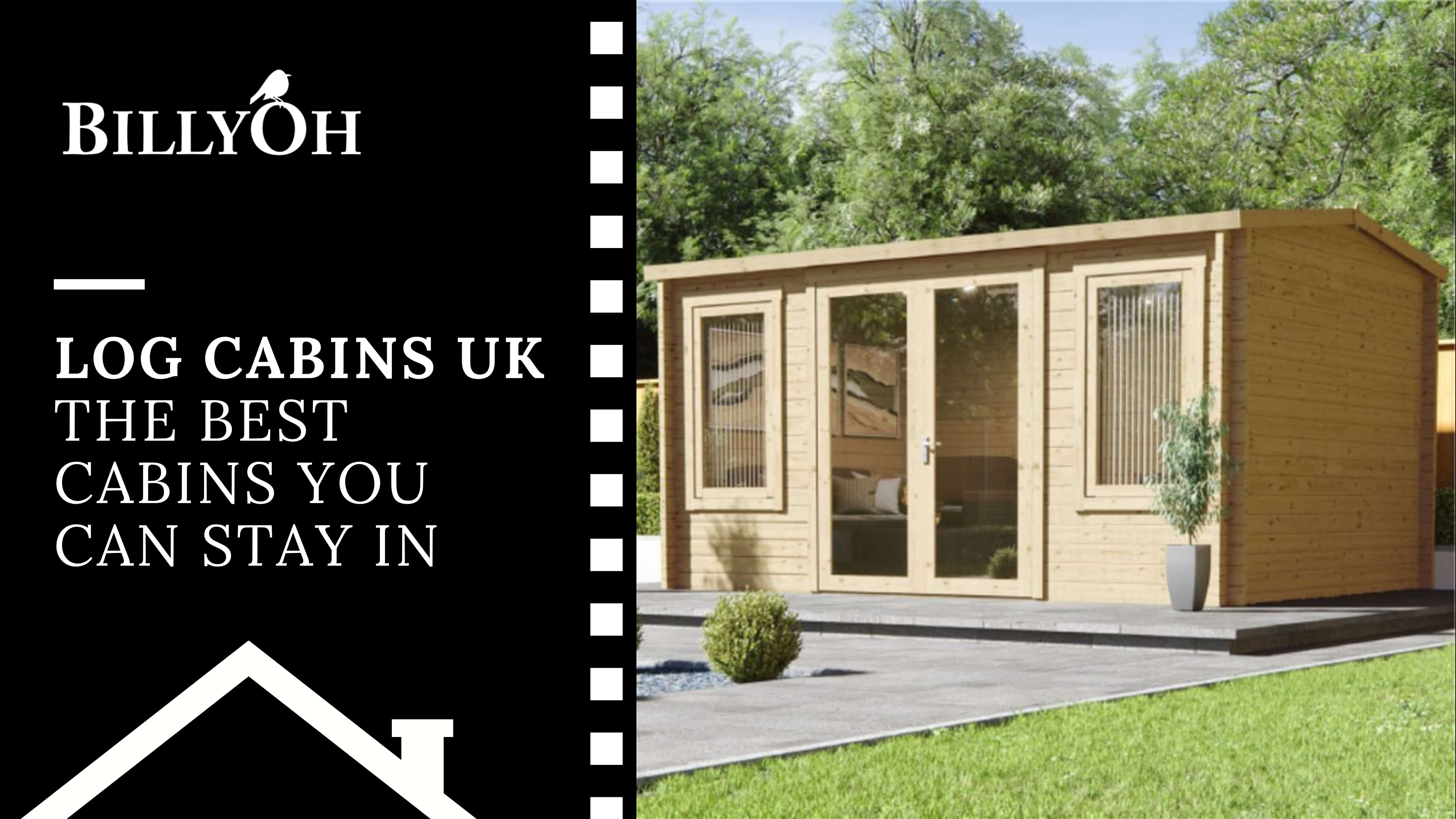log cabins UK on a black and white cartoon film roll banner with a pent roof log cabin summerhouse