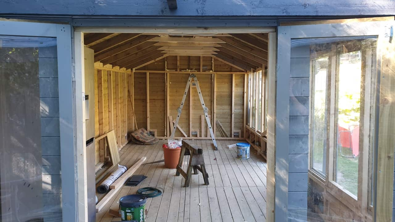 BillyOh Petra Reverse Apex Tongue and Groove Summerhouse in construction