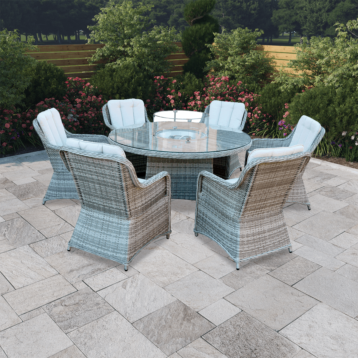 BillyOh Parma 6 Seater Round Outdoor Rattan Garden Dining Set with Firepit Table