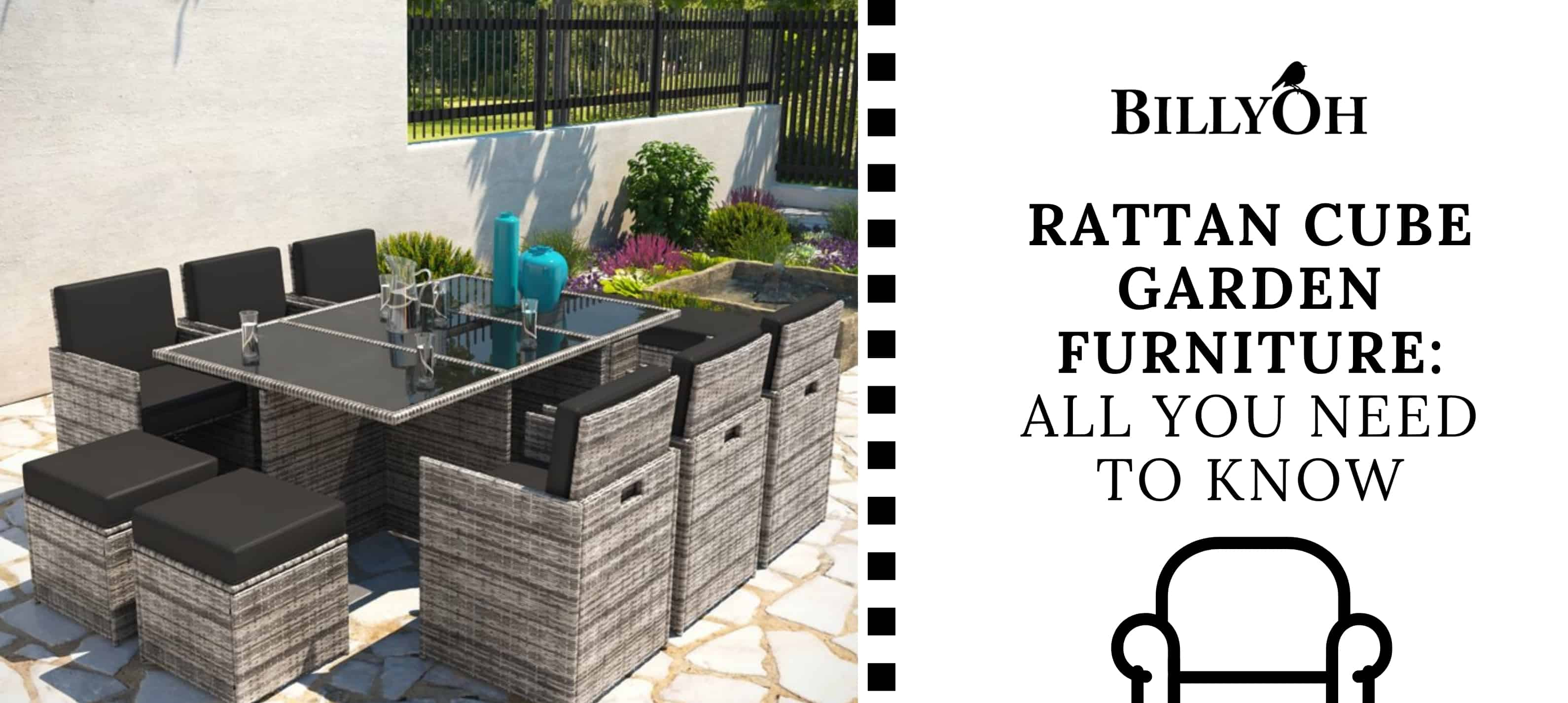 rattan cube garden furniture set on patio with BillyOh logo and cartoon black and white film reel banner