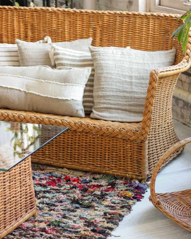 rattan curved loveseat with cushions