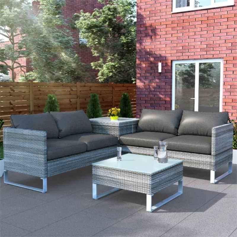 BillyOh Salerno Rattan Garden Furniture Corner Sofa Set with Coffee table