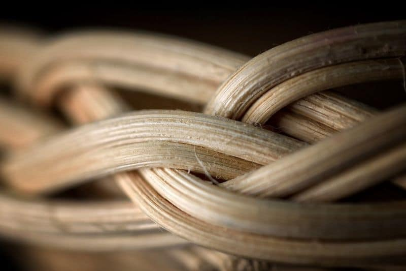 close up of natural rattan weave