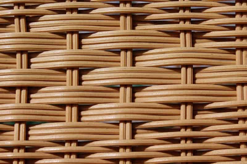 close up of thick rattan weave