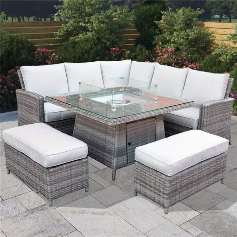 BillyOh Capri 6 seater rattan furniture set with fire pit table