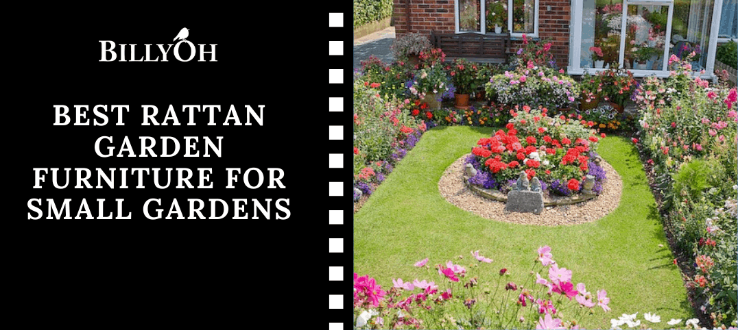Best Rattan Garden Furniture For Small Gardens with a small garden with a circular flower bed in the middle