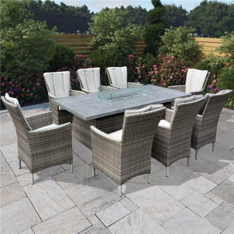 BillyOh Sicily 8 Seater Outdoor Rattan Garden Dining Set with Firepit Table